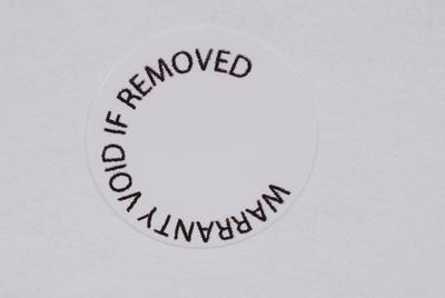 Warranty label – white